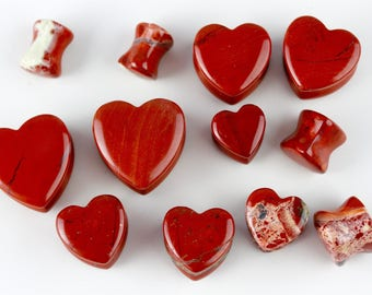 Red Jasper Heart Shaped Plugs (Pair) - H001