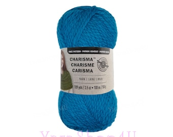 ELECTRIC BLUE. Charisma Loops and Threads Yarn. This is a Bulky Solid Turquoise Blue acrylic Yarn. Medium Sky Blue Acrylic 3.5oz 109yds