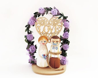 Decorations purple love Cake toppers - Decorations for personalized figurines - Decorations Peg doll - To make personalize