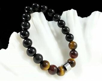 Black Obsidian Bracelet -w/ Tiger Eye & Stainless Steel Bead,8mm,Grade AA, Black Obsidian Men's Bracelet, Black Obsidian Women's Bracelet