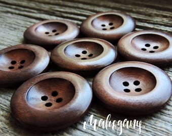 """Solid Wood Mahogany Color Button 