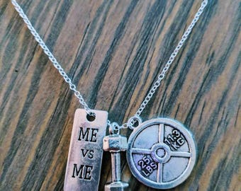 Me vs. Me Barbell and Weightplate Necklace