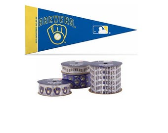 Milwaukee Brewers MLB 4-pack of Ribbon & Mini Pennant, Licensed MLB Offray Ribbon