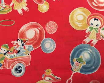 Adorable childrens toy motif fabric remnant Japanese