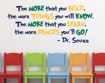 Dr. Seuss The More That You Read The More That You Know Quote in 3 Colors Vinyl Wall Decal- Decoration for Classroom and Libraries