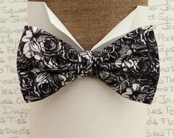 Bow ties for men, Bow Ties UK, black and white roses bow tie