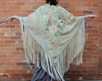 Vintage 1920s Embroidered Silk Piano Shawl