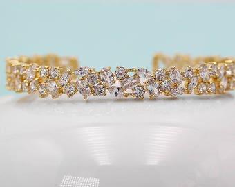 Bridal bracelet Gold, Cuff Wedding Bracelet, Gold wedding bracelet, cz bracelet, cubic zirconia bracelet, bridal jewelry Bracelet 530996094