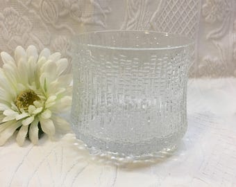 Iittala Ultima Thule Embossed Glass Crystal On the Rocks, XL Glass, Double Old Fashioned, Mid Century Glass, Pebbled Base, 3 Toed, Finland