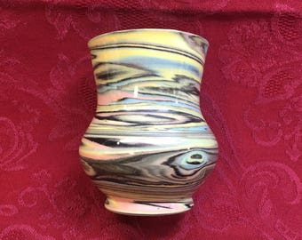 Swirled Paint Glazed Pottery Vase, Multicolored Miniature Urn Shaped Vase, Bud Vase, 3 Inch Tall Vase