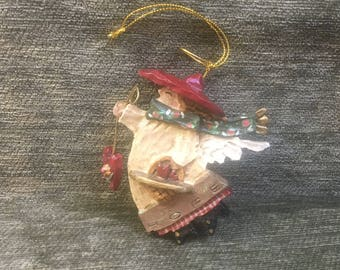 Kurt S Adler Angel Ornament, Angel with Red Hat, Red Heart and Basket of Hearts, Marked HOPE, Hope Angel Ornament, Sparkly Angel