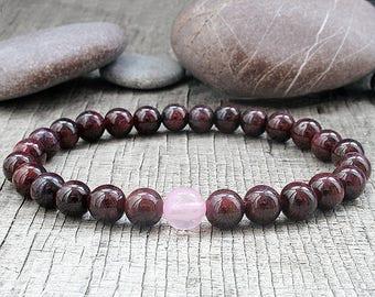 Garnet bracelet Beaded bracelet Women Gift for her January birthstone Inspiration bracelet Heart Chakra bracelet Aries birthstone mothers
