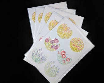 Watercolor Flowers - 5 Blank Greeting Card Set