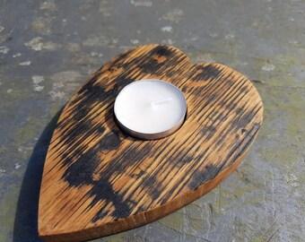 Whisky Barrel Heart tea light holder - heart shaped tealight holder - romantic gift -anniversary gift - gift for women