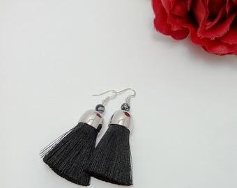 Black Tassel Earrings, Black Tassel with Obsidian, Obsidian Earrings, Tassel Jewelry, Black Jewelry, Snow Obsidian, Silver Earrings