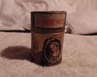 Vintage Florence Painting Matches in round cylinder holder.