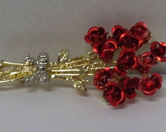Red Flower Bouquet Brooch