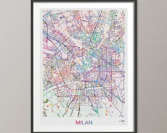 Milan map etsy milan city map print watercolor art print wall art italy milan street map milano travel wanderlust gumiabroncs Image collections