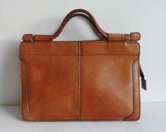 Brown 70s Vintage Leather Top Handle/Shoulder Bag // Boxca // Made In Denmark
