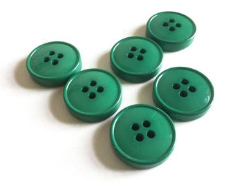 Chunky green buttons / vintage buttons / plastic buttons / set of six