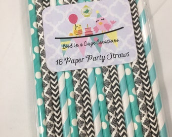 Teal and Black Paper Straws - Set of 16 | Teal and Black Party Decor