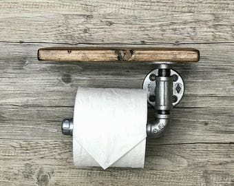 rustic industrial toilet paper holder tp with shelf bathroom storage toilet paper