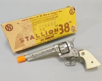 1950's Vintage / Nichols Stallion 38 Six Shooter / Vintage Cap Gun / Original Box / 1951 / Vintage Cap Pistol / Diecast Cap Pistol