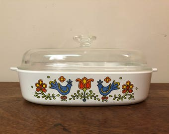 Corning Ware Country Festival A-10-B Square Casserole Dish / Baking Dish with Lid A-12-C Blue Birds & Flowers