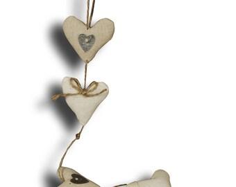 Pretty Garland of hearts fabric L60