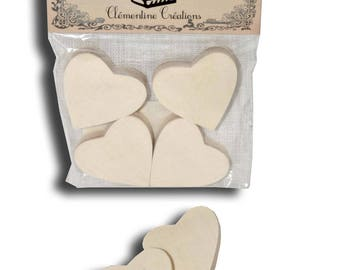 """Bag of 4 hearts """"Decorative table"""" wooden 4 x 4"""