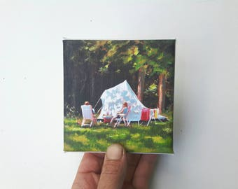 small canvas print, camping painting , mountain print, print canvas, landscape artprint, small painting, tiny canvas, mini canvas 4x4 print