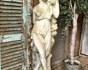 Beautiful vintage French weathered stone garden nymph