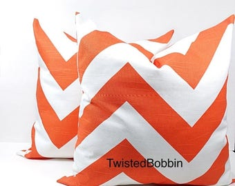 SALE Pillow cover. Zippy.Tangelo and white pillow cover. Set of two.Select your size.cm