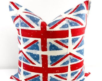 SALE Red and Blue Pillow Cover, Union Jack Pillow Case. Cushion Covers. Pillow Case.1 piece. cotton.Select your size