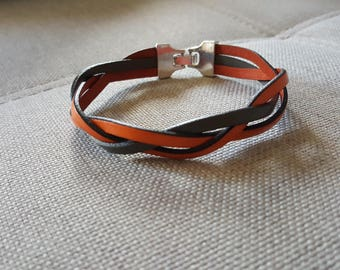 Coral/grey bison leather bracelet braided