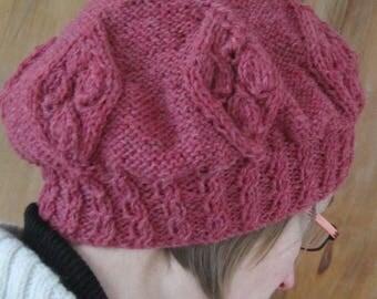 Beret hand knitted woolen woman