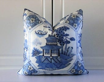 Manuel Canovas Decorative Pillow Cover-Delft Blue Asian Pagoda- 20x20