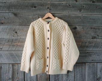 vintage wool fisherman's cardigan