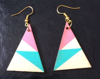 Earrings, triangles in wood, painted in geometric patterns