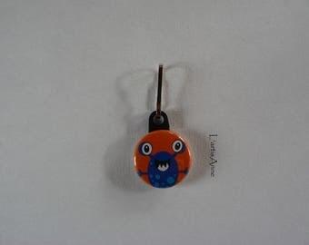 Zipper Monster Badge Strap Zip pull.