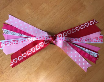 Hearts Ponytail Streamer Hair Bow, Valentines Day Hair Bow, Hair Accessories, Red and Pink Hair Streamer, Ponytail Streamer, Girls Hair Bow