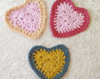 4 Heart Coasters, Handmade Crochet /  summer dining / Yarn / 2 colour / made to order /