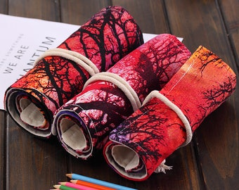72 Holes Canvas Pencil Wrap Roll Up Pencil Case Pen Holder Bag Storage Pouch  Tree And Setting Sun