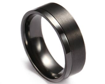 Black Zirconium Two Tone Wedding Ring
