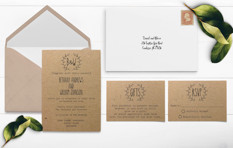 Wreath Wedding Invitation Kraft Paper Wedding Invitation Kraft
