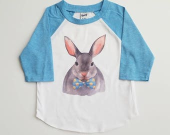 Dappy Bunny Shirt - Boy Easter Shirt - Custom Easter Shirt - Easter Raglan - Boy Bunny Shirt - toddler Rabbit Shirt - Easter Bunny Tee