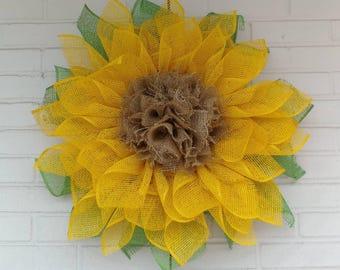 Shabby Chic Poly Burlap Yellow Sunflower Wreath with Ruffle Burlap Center