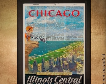 SALE-SHIPS Aug 22- Vintage Chicago travel poster printed on upcycled dictionary, Chicago Wall Art Home Decor Illinois Blue da921