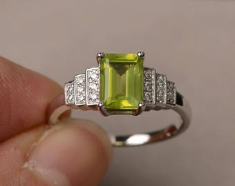 August Birthstone Natural Green Peridot Ring Anniversary Ring Emerald Cut Gemstone Ring Sterling Silver Ring