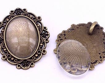 One Antique Bronze Effect Oval Cameo Pendant Blank Bezel Tray Setting // with Clear Glass Cabochon // APB029